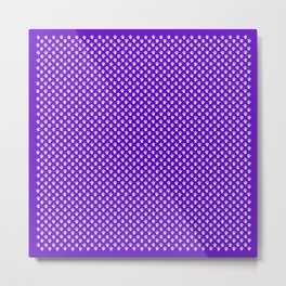Tiny Paw Prints Pattern Deep Purple and White Metal Print