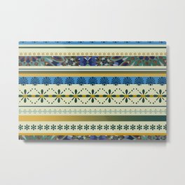 Stipes ornaments designs blue yellow Metal Print