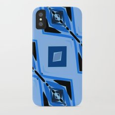 Black and Blue Diamond abstract iPhone X Slim Case