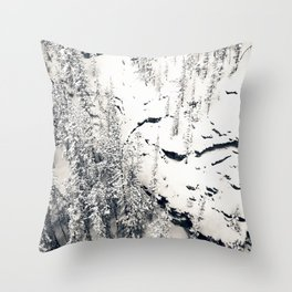 Snow on Textures of Pine Trees and Cliffs Throw Pillow