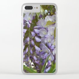 Wisteria Petals and Leaves Clear iPhone Case