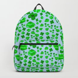 Green Poppies on blue Backpack