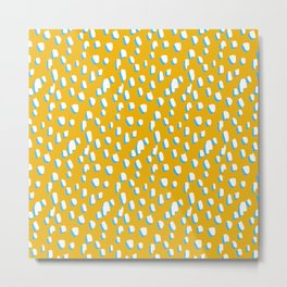 Yellow Flintstone // Pattern, Polka Dot, Yellow, White, Blue, Fun Metal Print