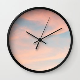 Blue Sky with Pink Clouds Wall Clock