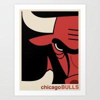 chicago bulls Art Prints featuring Bulls by racPOP