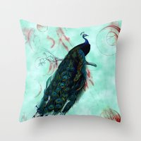 peacock Throw Pillows featuring Peacock by SuzanneCarter