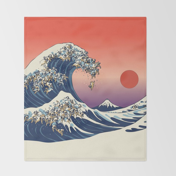 The Great Wave of Pugs / Square Throw Blanket
