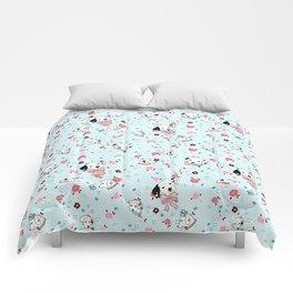 Dalmatian Floral Light Blue Comforters