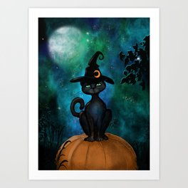 Witch's Familiar on a Pumpkin Art Print