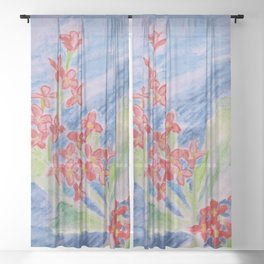 Red Flower Sheer Curtain