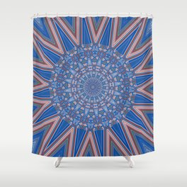 Blue Red and White Kaleidoscope Pattern Shower Curtain
