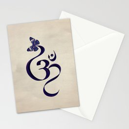 OM symbol and Butterfly - watercolor Stationery Cards