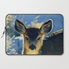 Blue Baby Deer in Winter Light by CheyAnne Sexton Laptop Sleeve