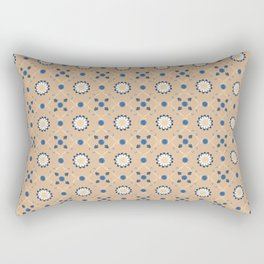 Beige Blue Flowers Pattern Spanish Tiles bathroom tile decal Oriental Decor Moroccan tiles Rectangular Pillow