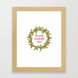 Christmas Holly Wreath The Most Wonderful Time Framed Art Print