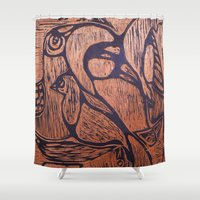 wesley bird Shower Curtains featuring bird      by Amy Fan