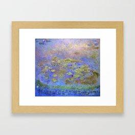 Water Lillies - Claude Monet (indigo blue) Framed Art Print