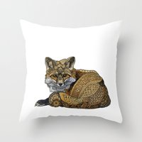 kit king Throw Pillows featuring Fox Kit by ZHField