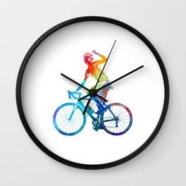 Woman triathlon cycling 03 Wall Clock