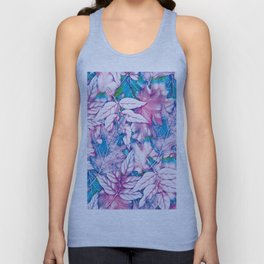 Colorful pink teal watercolor abstract leaves floral Unisex Tank Top