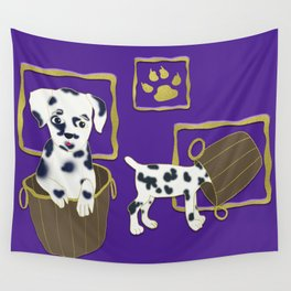 Purple puppy antics | Puppies at play Wall Tapestry