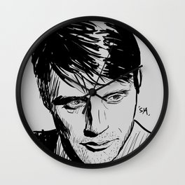 Mads Mikkelsen Sketch Wall Clock