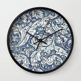 William Morris Navy Blue Botanical Pattern 3 Wall Clock