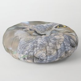 Young Owl at Noon Floor Pillow