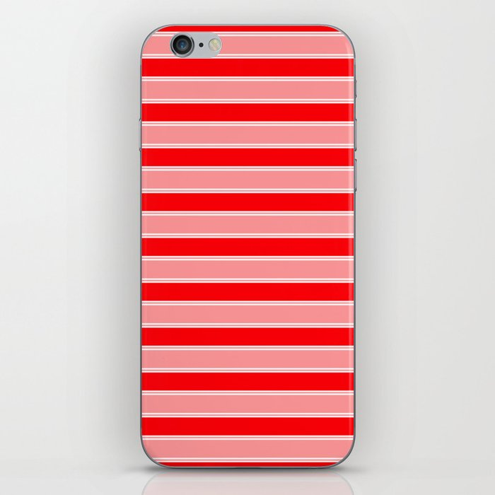 Large Horizontal Christmas Holiday Red Velvet and White Bed Stripe iPhone Skin