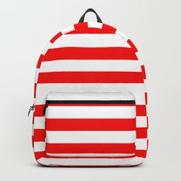Large Berry Red and White Rustic Horizontal Tent Stripes Backpack