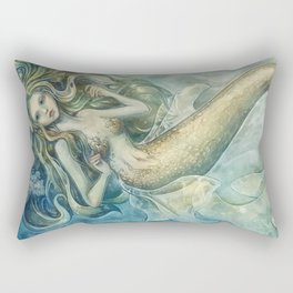 mermaid with Flowers in her hair Rectangular Pillow