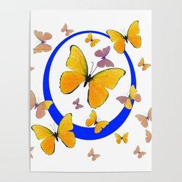 YELLOW BUTTERFLIES & BLUE RING MODERN ART Poster