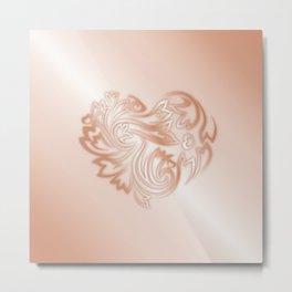 Rose Gold Floral Heart Metal Print