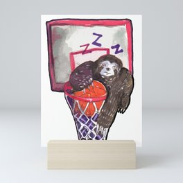 sloth playing basket Mini Art Print