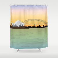 sydney Shower Curtains featuring Sydney by Anita Papazian