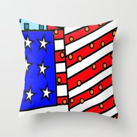 american Throw Pillows featuring American by Mariana