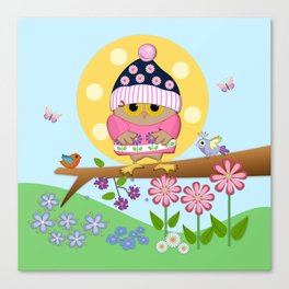 Spring owl in her new dress Canvas Print
