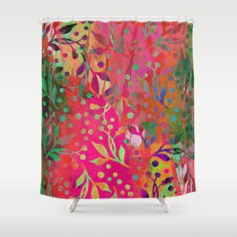 Tropical Summer colorful botanical pattern Shower Curtain