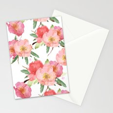 Pretty Pink Garden Flowers Watercolor   Stationery Cards