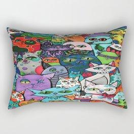 Crazy Cats Color  Rectangular Pillow
