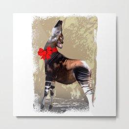 Okapi  with Red Bow Metal Print