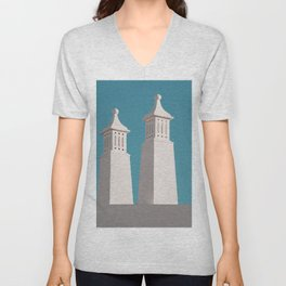 Minimalist Photography Portugal Minerit White Towers Blue Background Scadenvien Style Unisex V-Neck