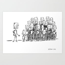 Robot Gathering Art Print