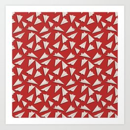 Paper Planes Pattern | White Red Art Print