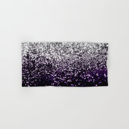 Dark Night Purple Black Silver Glitter #1 #shiny #decor #art #society6 Hand & Bath Towel