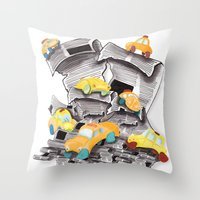 newspaper Throw Pillows featuring Newspaper Taxis by Jemma Banks