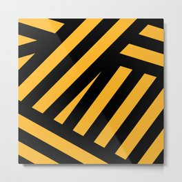 Black and yellow abstract striped Metal Print