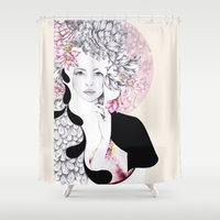gemma Shower Curtains featuring Giambattista Valli fashion Illustration by Gemma Hodgson Design
