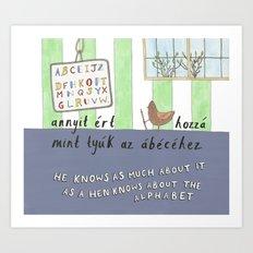 Alphabet Hen Art Print