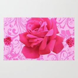 BEAUTIFUL  PINK ROSE SCROLLS GARDEN ART Rug